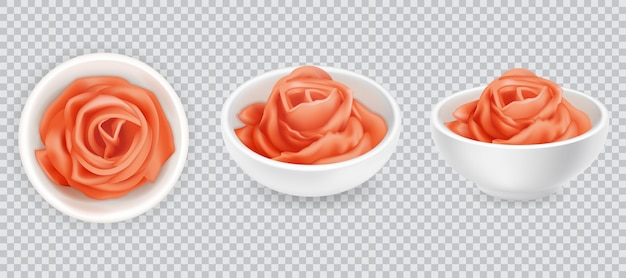 リアルな生姜漬けローズセット。白地にピンクの寿司調味料。アジアのスパイス、上面図と側面図。スライスしたショウガの根。図 Premiumベクター