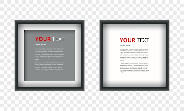 Realistic picture frame isolated on transparent background Premium Vector