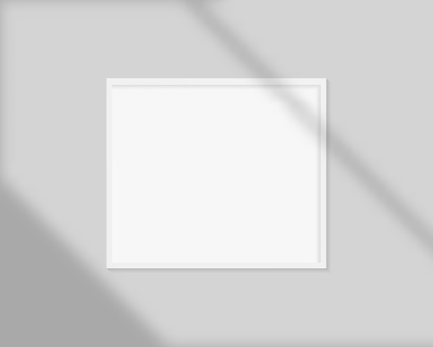 Realistic picture frame with shadow overlay. blank picture frame mockup template. Premium Vector