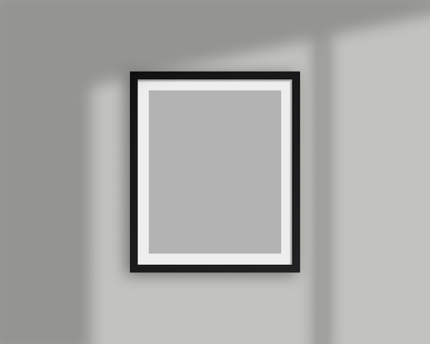 Realistic picture frame with shadow overlay. blank picture frame template. isolated. template design. realistic   illustration. Premium Vector