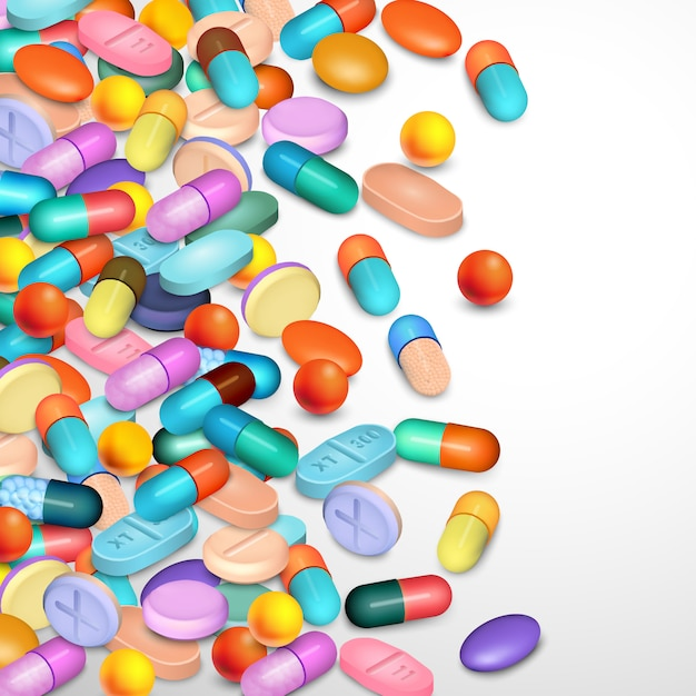 Realistic pills background Free Vector