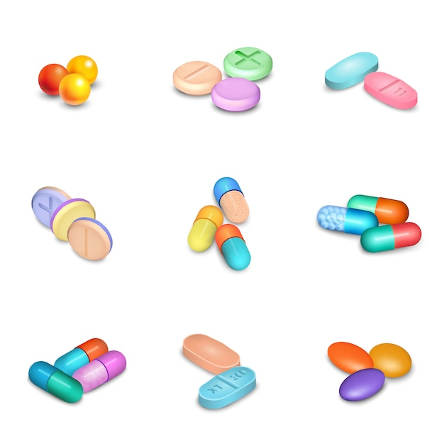 Realistic pills icons set Free Vector