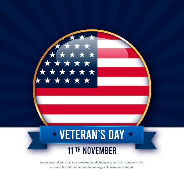 アメリカ国旗の復員軍人の日と現実的なピン Premiumベクター