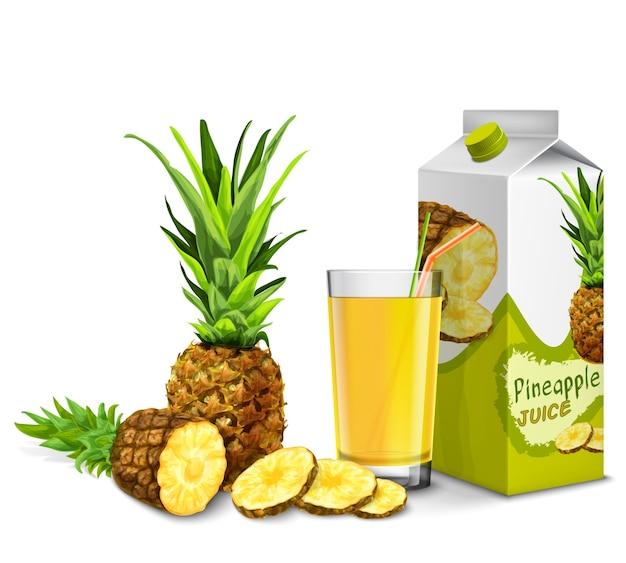 Реалистичные ананас сок стекла с коктейль соломы и бумажный пакет, изолированных на белом фоне векторные иллюстрации Бесплатные векторы