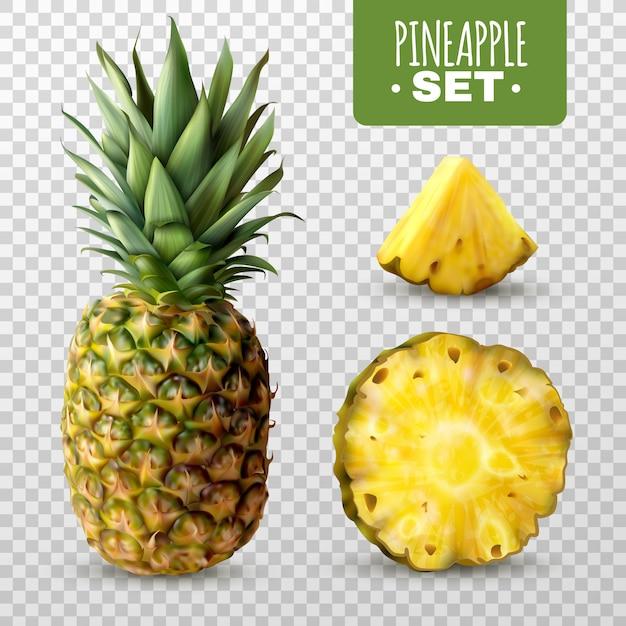 Реалистичный ананасовый набор Бесплатные векторы