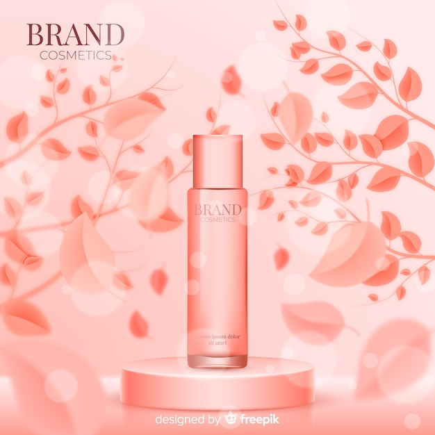 Realistic pink cosmetic ad poster Free Vector