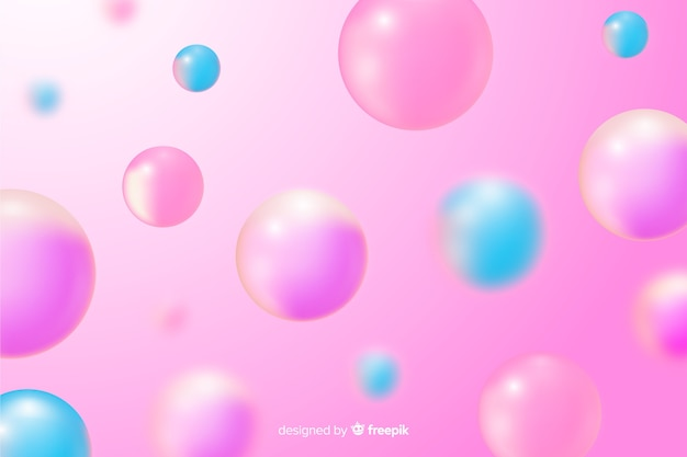 Realistic pink glossy balls background Premium Vector