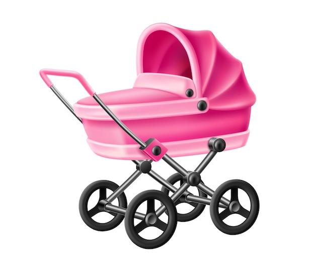 Реалистичная розовая коляска для новорожденных Premium векторы