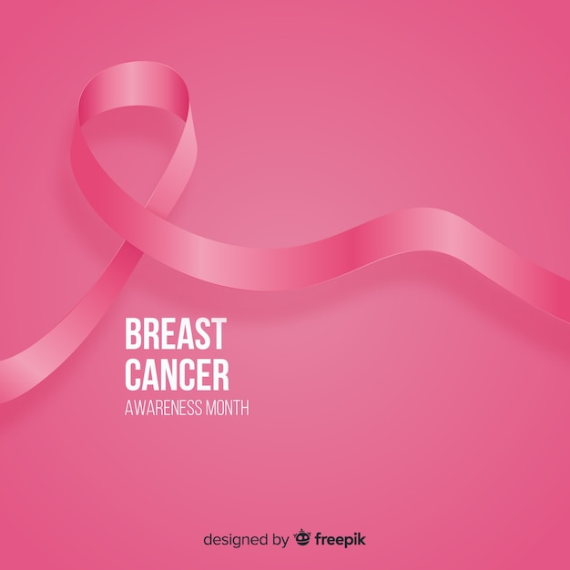 Realistic pink ribbon for breast cancer awareness event Free Vector