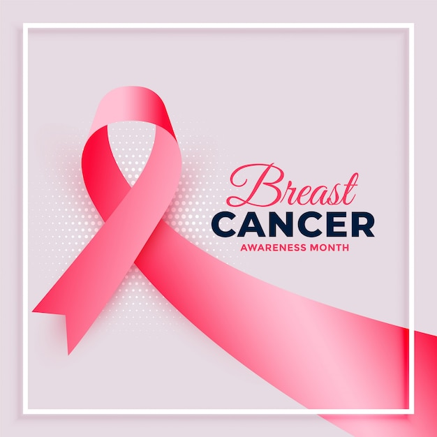 Realistic pink ribbon breast cancer awareness month poster Free Vector
