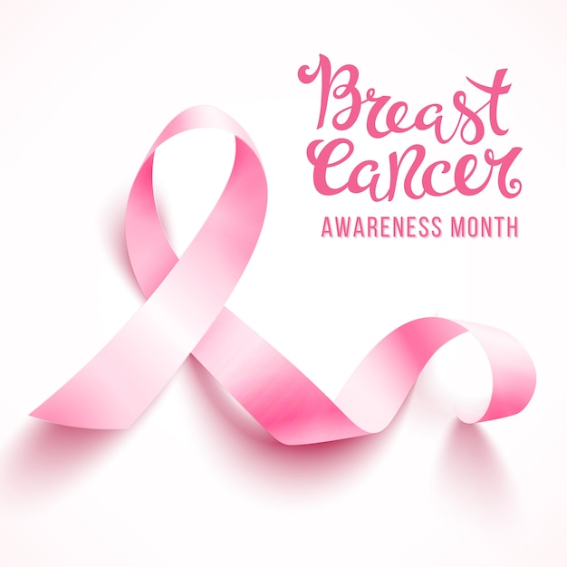 Realistic pink ribbon, breast cancer awareness symbol, isolated on white. . Premium Vector