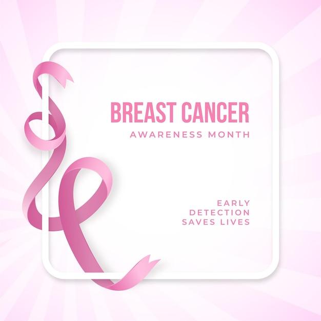 現実的なピンクのリボン癌意識 Premiumベクター