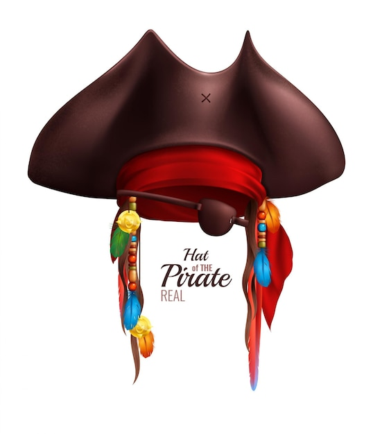 Realistic pirate hat decorated by red bandanna and indian accessories in realistic style isolated Free Vector