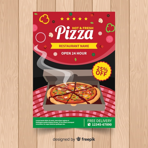 Realistic pizza restaurant flyer Free Vector