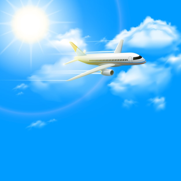 Realistic plane aircraft in blue sunny sky Free Vector