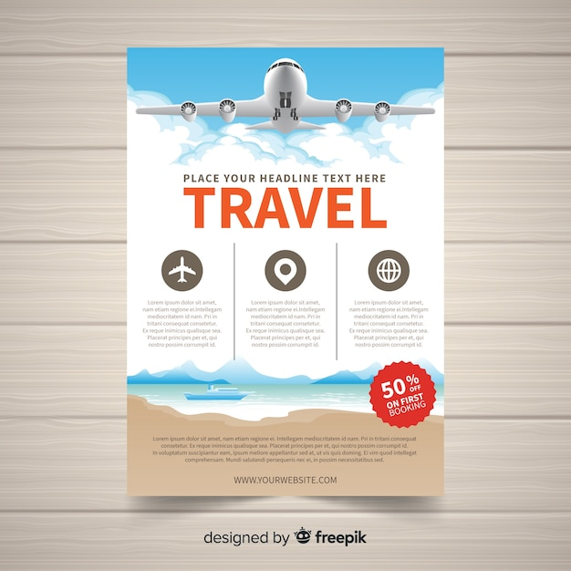 Realistic plane travel flyer template Free Vector
