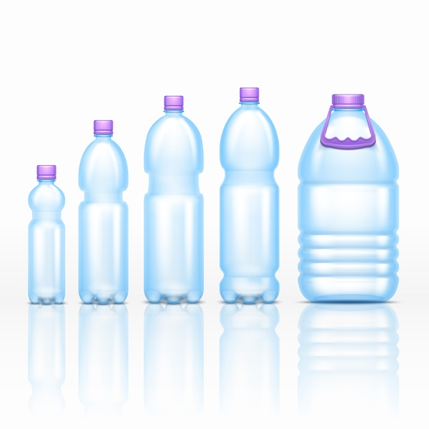 Realistic plastic drink bottles mockups isolated on white background vector set. transparent of bott Premium Vector