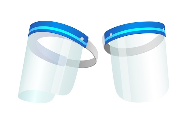 Realistic plastic face shield on white background Free Vector