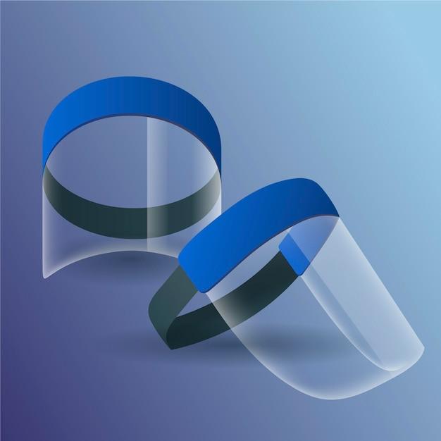 Realistic plastic face shield Free Vector