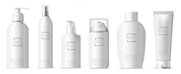 Realistic plastic skincare package. cosmetic 3d plastic bottle, dispenser pump and spray, shampoo, lotion, soap package  illustration set. realistic container skincare foam, bottle and package Premium Vector