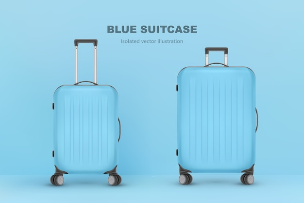 現実的なプラスチック製のスーツケース。白い背景の上の旅行バッグ。旅行バナーテンプレート。図 Premiumベクター