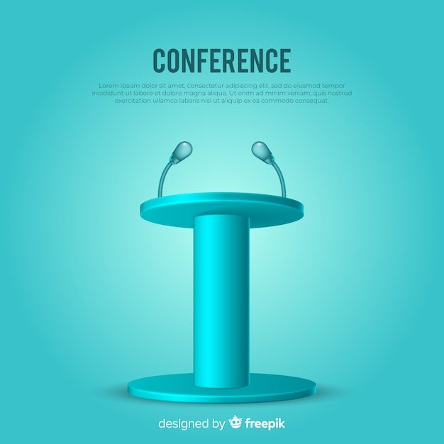 Realistic podium for conference blue background Free Vector