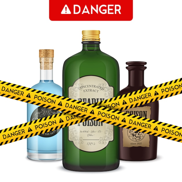 Realistic poison bottles and cordon tape with text danger vector illustration Free Vector