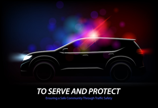 Realistic police car lights with profile view of moving automobile with glowing lights and editable text vector illustration Free Vector