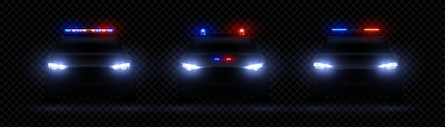 Realistic police headlights. car glowing led light effect, rare and front siren flare, red nda blue police light Premium Vector