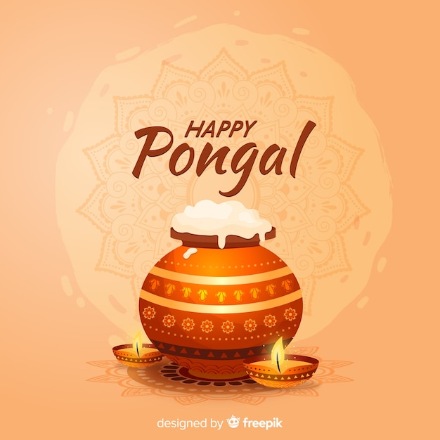 Realistic pongal background Free Vector