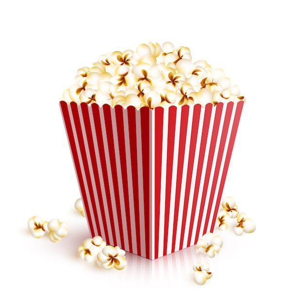 Realistic popcorn bucket Free Vector