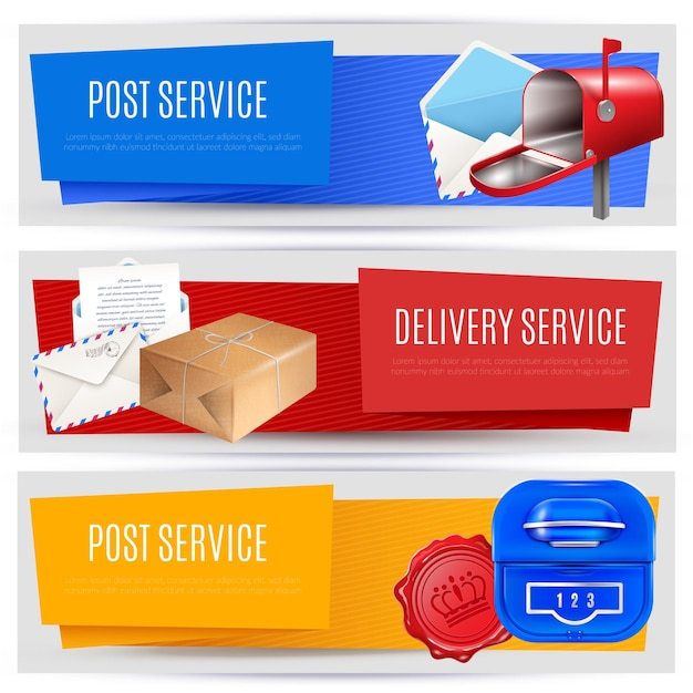 Realistic post mailbox letter banners set of three horizontal compositions with editable text images and pictograms Free Vector