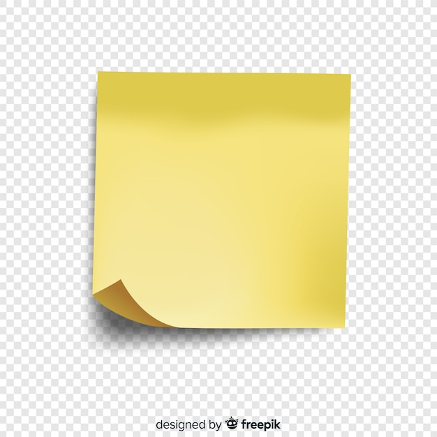 Realistic post note on transparent background Free Vector