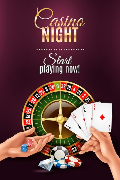 Realistic poster with casino gambling hand games Free Vector