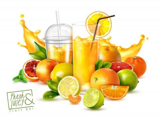 Realistic poster with citrus fruits and glasses of cold fresh juice on white Free Vector