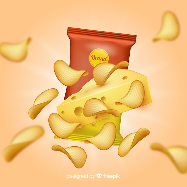 Realistic potato chips announcement background Free Vector
