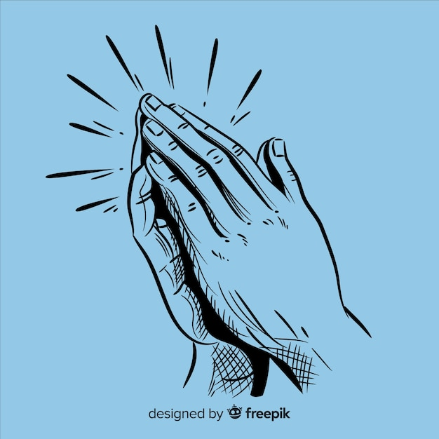 Realistic praying hands background Free Vector