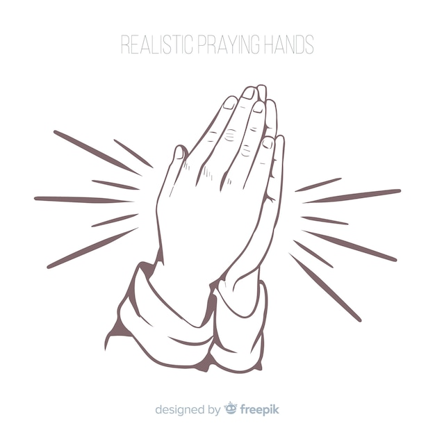 Realistic praying hands Free Vector