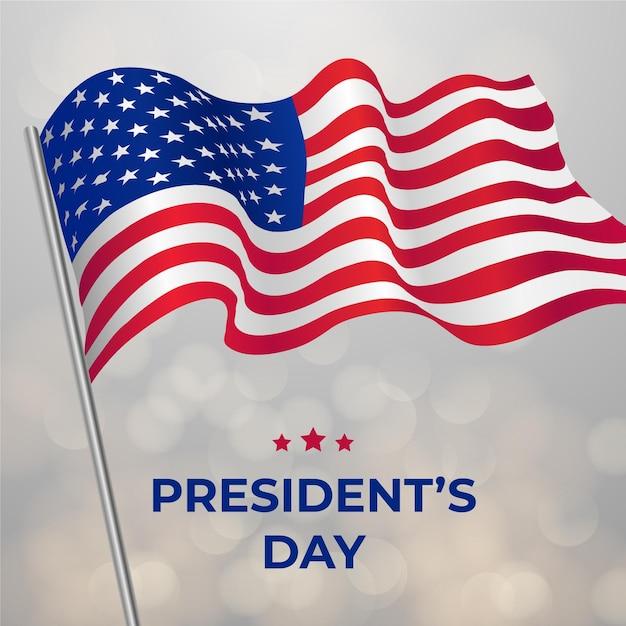 Evento realistico del giorno del presidente con bandiera Vettore gratuito
