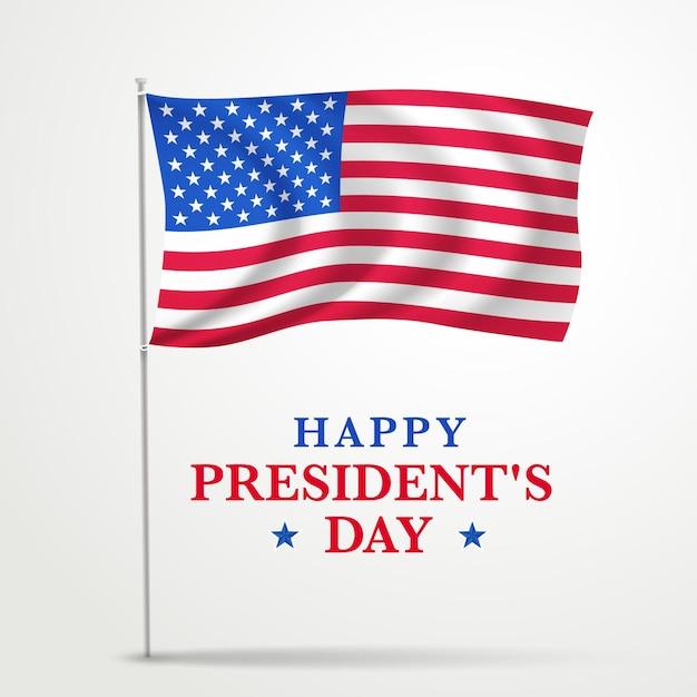Promozione realistica del giorno del presidente con bandiera Vettore gratuito
