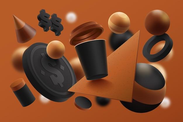 コーヒーカップと現実的な製品広告テンプレート 無料ベクター