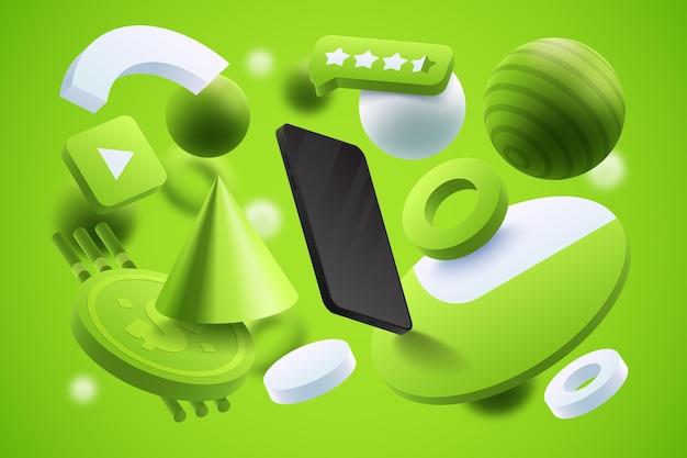 スマートフォンでリアルな商品広告テンプレート 無料ベクター