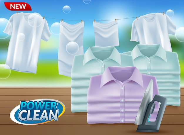 Realistic promo of washing powder Premium Vector