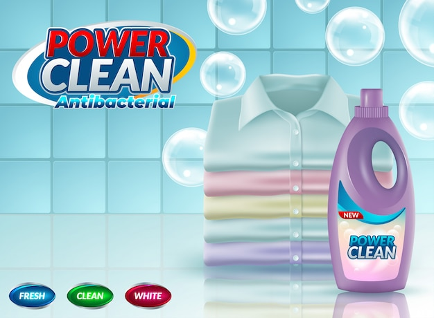 Realistic promo of washing powder Premium Vector