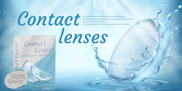 Realistic promotion banner with contact lenses in water splashes on blue background. Free Vector