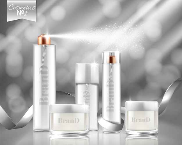 Realistic promotion banner with glass sprays, jars of cosmetic, gel, cream. Free Vector
