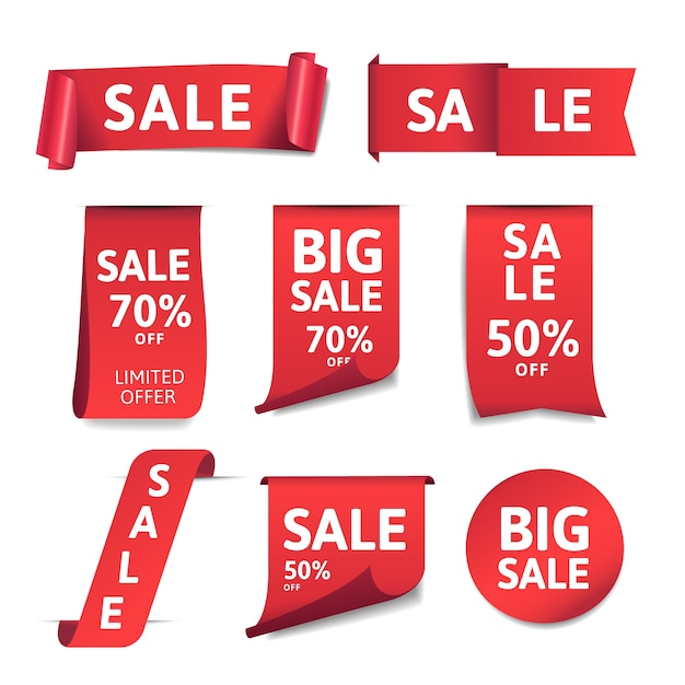 Realistic promotional sales label collection Free Vector