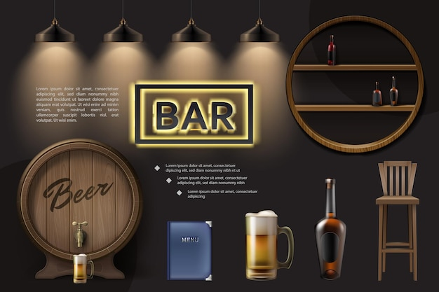 Realistic pub elements composition with wooden barrel beer glass chair menu lamps bottles on shelves neon signboard Premium Vector