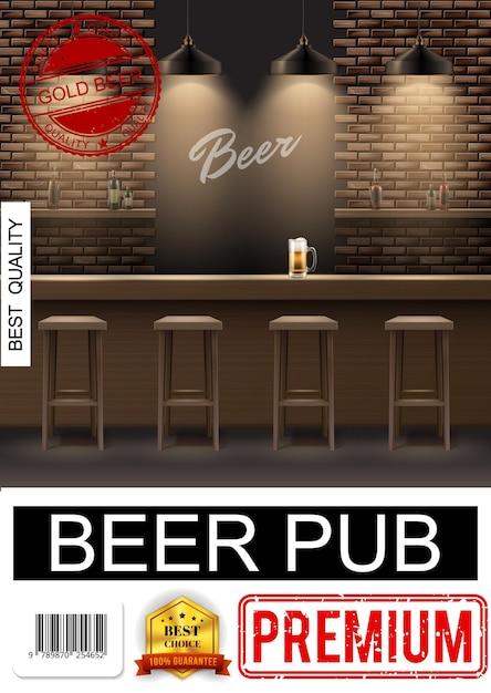 Poster interno pub realistico con sedie bicchiere di birra sul bancone del bar e bottiglie di alcol sugli scaffali Vettore gratuito