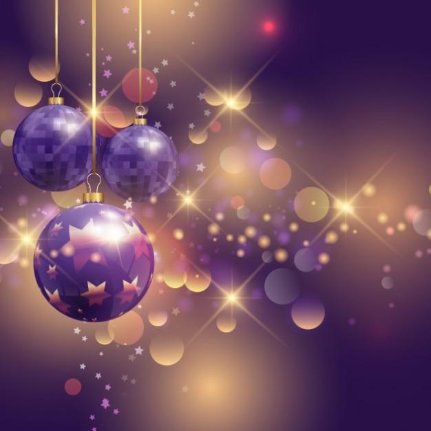 Purple Christmas.Realistic Purple Christmas Balls On A Bright Backgound
